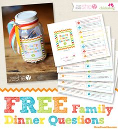 Love this so much! Free Family Dinner Printables - Perfect to get the conversation started every night.