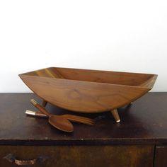Mid century wooden salad bowl