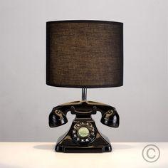 Retro Style Telephone Table Lamp in Black Finish