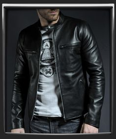 A timeless classic leather jacket, influenced by retro '60s style. We usually design jackets inspired by '70s themes but we had to give this one our own special 60's take using subtle, minimal detailing. We devised a tailored fit to create a great looking waist-length leather jacket. We use our own exclusive black Italian nappa leather to achieve a truly individual look and feel that's unmistakable when you wear the jacket. This is timeless style to surpass fashion trends.  £325.00