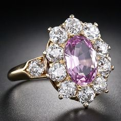 A fabulous, original antique treasure by America's formerly preeminent jeweler - Tiffany & Company. This thoroughly feminine and entrancing Edwardian ring, circa highlights a ravishing, passionate pink topaz, classically presented in a sparkling Halo Diamond, Diamond Cuts, Tiffany And Co Jewelry, Edwardian Ring, Gem Diamonds, Pink Topaz, Pink Stone, Ring Bracelet, Jewelery