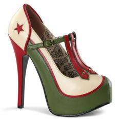 TEEZE-43 Bordello Sexy Shoes Hidden Platforms Military Themed T-Strap Stiletto Heel Shoes Pumps - Miss Hollywood