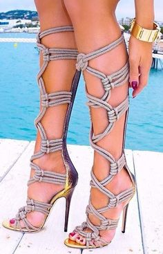 Sestito Woman Sexy Rope Cross-tied Cut-outs Gladiator sandals Boots Ladies Peep Sestito Woman Sexy Rope Cross-tied Cut-outs Gladiator sandals Boots Ladies Peep Toe High Heels Knee High Boots Girls Zip Shoes High Heel Boots, Heeled Boots, Shoe Boots, High Heels, Shoes Heels, High Sandals, Rope Sandals, Boot Heels, Grey Heels