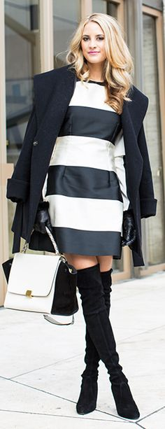 Trina Turk Coat + Stella McCartney Dress + Stuart Weitzman Boots + Celine Bag by Ivory Lane