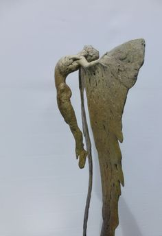 Bronze sculpture by sculptor Nicola Godden titled: 'B.Icarus Rising VIII (Soaring and Melting Wings statue)'. #NicolaGodden