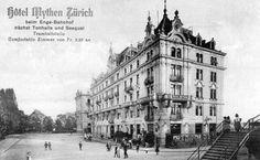 Zimmer ab 2.50 Fr. Das Hotel Mythen beim Bahnhof Enge 1903 Das Hotel, Louvre, Building, Travel, Painting, Past, Switzerland, City, Poster