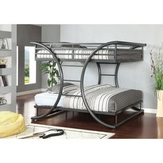 Shop for Furniture of America Heze Transitional Black Full/Full Metal Bunk Bed. Get free delivery On EVERYTHING* Overstock - Your Online Furniture Outlet Store! Get in rewards with Club O! Modern Bunk Beds, Metal Bunk Beds, Bunk Beds With Stairs, Kids Bunk Beds, Silver Bedding, Grey Bedding, Bedding Sets, Luxury Bedding, Full Size Bunk Beds