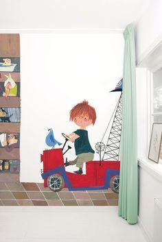 Fotobehang van KEK Amsterdam - Wallpaper Story 056 'Red Truck II' door Fiep Westendorp