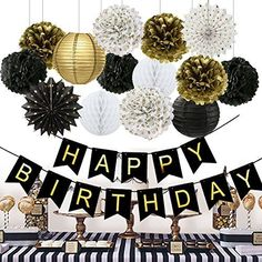 Birthday Party Decorations Black Happy Birthday Banner Paper Flowers Tissue Paper Pom Poms Paper Lanterns Paper Fans for Birthday Party birthday party decorations for women turning Great for a 50 fabulous birthday Birthday Party Celebratio 50th Birthday Party Ideas For Men, Birthday Party Decorations For Adults, Moms 50th Birthday, Birthday Party Celebration, Happy Birthday Parties, 30th Birthday Parties, 50 Party, Birthday Woman, 50th Birthday Banners