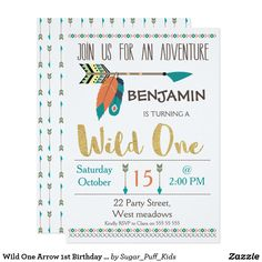 Wild One Arrow Birthday Invitation For Boy Birthday Wild One Birthday Party, 1st Boy Birthday, First Birthday Parties, Birthday Ideas, Birthday Party Invitation Wording, First Birthday Invitations, Thing 1, Zazzle Invitations, Invitation Templates
