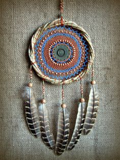 Dream catcher/Willow hoop/Сotton thread/Wood Beads/Metal fittings/Pheasant feather.