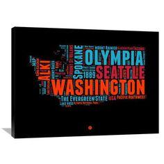 "Naxart 'Washington Word Cloud 1' Textual Art on Wrapped Canvas Size: 30"" H x 40"" W x 1.5"" D"