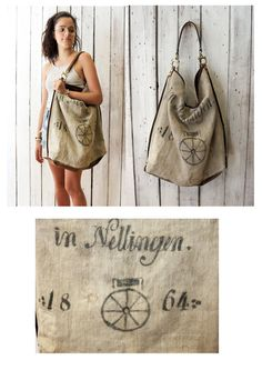 ALLEGRA Historical BAG Handmade old sac 1864 & Leather Shopping bag\tote di LaSellerieLimited su Etsy