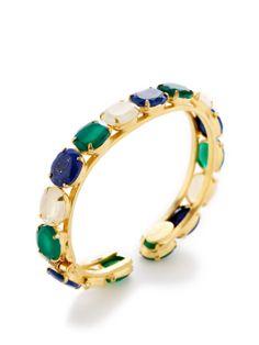 Bounkit Lapis, Moonstone, & Green Onyx Cuff Bracelet