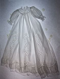 "2 things: the light smocking on the round yoke, and the ""ruffle"" bottom. I would love to make a special occaision dress from some of the design elements of this. (Gorgeous heirloom Christening Gown By Kathy Dykstra. Baby Christening Gowns, Baptism Gown, Blessing Dress, Angel Gowns, Gown Pattern, Vintage Baby Clothes, Baby Gown, Heirloom Sewing, Vintage Sewing"