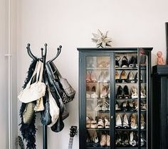 Repurposed armoire to store shoes - not crazy about the purse storage but like the shoes. Love all the ideas this link gave me for a future closet! Decoration Inspiration, Interior Inspiration, Purse Storage, Shoe Storage, Storage Ideas, Purse Rack, Shoe Shelves, Purse Holder, Extra Storage