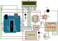 Prepaid Energy Meter using GSM Circuit Diagram