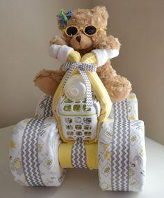 Chevron conception gâteau de couches, 4 roues, Quad, VTT, moto, ours en peluche, bébé cadeau gâteau, pièce maîtresse, cadeau de douche de bébé, bébé Bo
