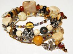 Beaded Memory Wire Bracelet  Queen Bee  Honey by MURPHYSTREASURES2