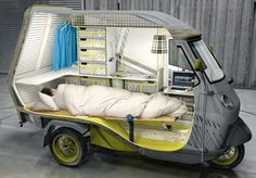 German industrial designer Cornelius Comanns came up with this design for a one-person mini camper, based on the Piaggio APE 50 three wheel scooter.
