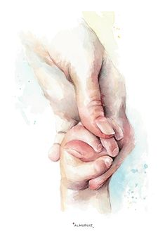 Preemie Holding Hands Watercolor Print Preemie and Mother Mother Daughter Art, Mother Art, Father Daughter Photos, Pregnancy Art, Baby Illustration, Baby Painting, Baby Drawing, Baby Art, Mothers Love