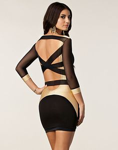 Strappy Mesh Back Dress - Quontum - Gold/black