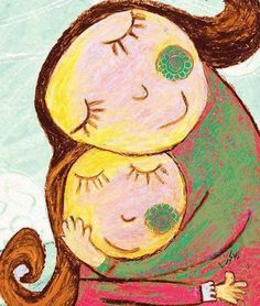 I love you, mom. Mother And Child Painting, Painting For Kids, Painting & Drawing, Art Drawings For Kids, Easy Drawings, Art For Kids, Art And Illustration, Illustrations, Arte Elemental