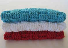 Crochet Washcloths Spa Set. Red White Blue by TalicakeCrochet