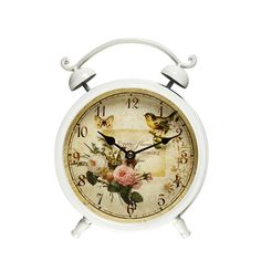 Adeco Trading Vintage-Inspired Butterfly and Bird Design Alarm Wall Hanging or Table Clock