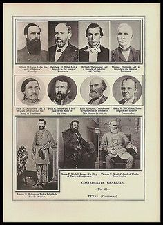 paperink id: prints304 Texas Eleven 11 Generals Confederate Army Civil War Photo Print: Richard M. Gano Led Morgan's Cavalry Brigade; Mattew D. Ector Tennessee Brigade; Richard Waterhouse led Infantry