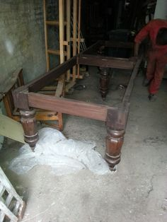 4 metre Mahogany 5 leg table made using reclaimed snooker table legs