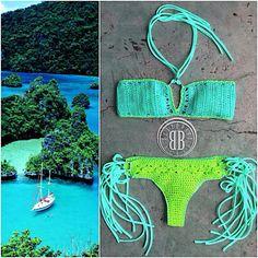 Fidschi-Bikini Fiji bikini by beijobaby on Etsy # Crop Tops Crochet, Motif Bikini Crochet, Bikinis Crochet, Crochet Granny, Knit Crochet, Hippie Bikini, Crochet Bathing Suits, Vintage Bikini, Beautiful Crochet