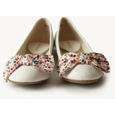 Confetti Bow Flats In White ($33) ❤ liked on Polyvore
