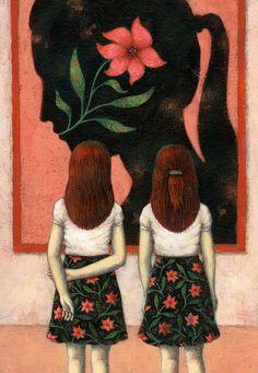 Ofra Amit. Je remarque qu'il y à deux fillettes qui sont entrain de regarder un tableau avec un visage noir et à l'intérieur, une fleur. Ils y a beaucoup de détail dans les jupes des deux filles. J'aime beaucoup se tableau parce que nous savons tout de suite ce que sait, de plus les couleurs pâles et les couleurs foncées vont très bien ensemble dans se tableau. Finalement, ce tableau me fait pensée à un musée, à cause du tableau peinturer