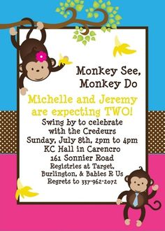 baby shower ideas for twins | Twins Baby Shower Invitation Boy Girl Monkey Printable