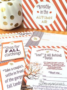 """FUN Fall Date Night Idea! Make time to """"leaf"""" it all behind and breathe in the autumn air together. Printable downloads included- all you have to do is make it happen."""