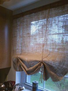 Burlap Curtains-for the master bath