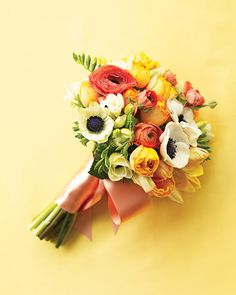 bouquet of anemones, parrot tulips, and ranunculus (in season for spring) $50!  marthastewart.com