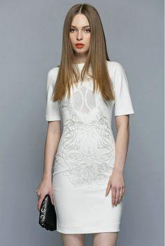 273782f1970 Europe 2015 New Fashion Summer Women s Short Sleeve Plus Size Slim Knee  Length Bodycon Pencil Dress OL Career White Black Dress