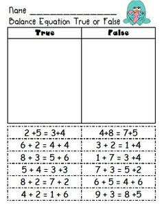 First Grade Fairytales Balancing Common Core & Freebies ) – Free Worksheets Samples Second Grade Math, Grade 1, First Grade Math Worksheets, First Grade Freebies, Math Resources, Math Activities, First Grade Activities, Balancing Equations, Eureka Math
