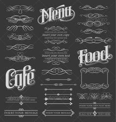 Calligraphy Chalkboard Design Elements