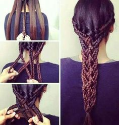 It looks hard is easy! Multiple braids in one.