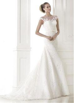 GRACEFUL TULLE MERMAID BATEAU NECKLINE NATURAL WAISTLINE WEDDING DRESS IVORY WHITE LACE BRIDAL GOWN HANDMADE CUSTOM