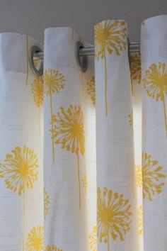 Pair of Designer Custom Curtain Panels 50 x 84 Yellow Dandelion with Grommets. $180.00, via Etsy.