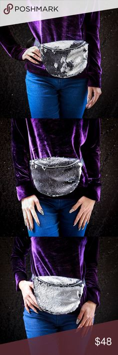 """Silver & black mermaid sequin handmade fanny pack Handmade in the USA, this fabulous silver and black sequin fanny pack has reversible mermaid moveable sequins, a gold metal YKK zipper and a black satin lining. The waistband has an adjustable strap and slider to hold down excess strap (50"""" widest width extension of strap-longer straps can be accommodated) Please visit my Etsy site (""""Handmade by Janel"""") to purchase for $38 and to view more sequin colors options…"""