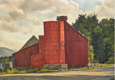 """Untitled (Barn on the Road), Luigi Lucioni, 1948; oil on canvas, 10 1/8 x 14"""", private collection."""