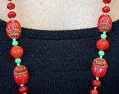 Antique Vintage Art Nouveau Hand Knotted Red & Green Scarab Beetle Bead Necklace