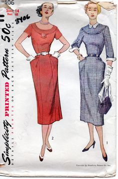 Simplicity 8406 1950s Misses Slim Dress Pattern Detachable Collar and Cuffs womens vintage sewing pattern  by mbchills