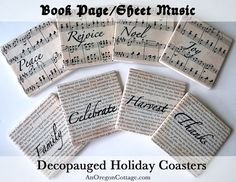 Transform thrift store coaster into Fall and Christmas decorations with book pages & sheet music! Decoupaged Holiday Coasters: An Oregon Cottage