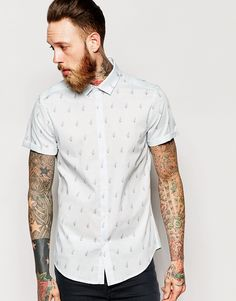 Image 1 of ASOS Shirt In Short Sleeve With Aeroplane Print